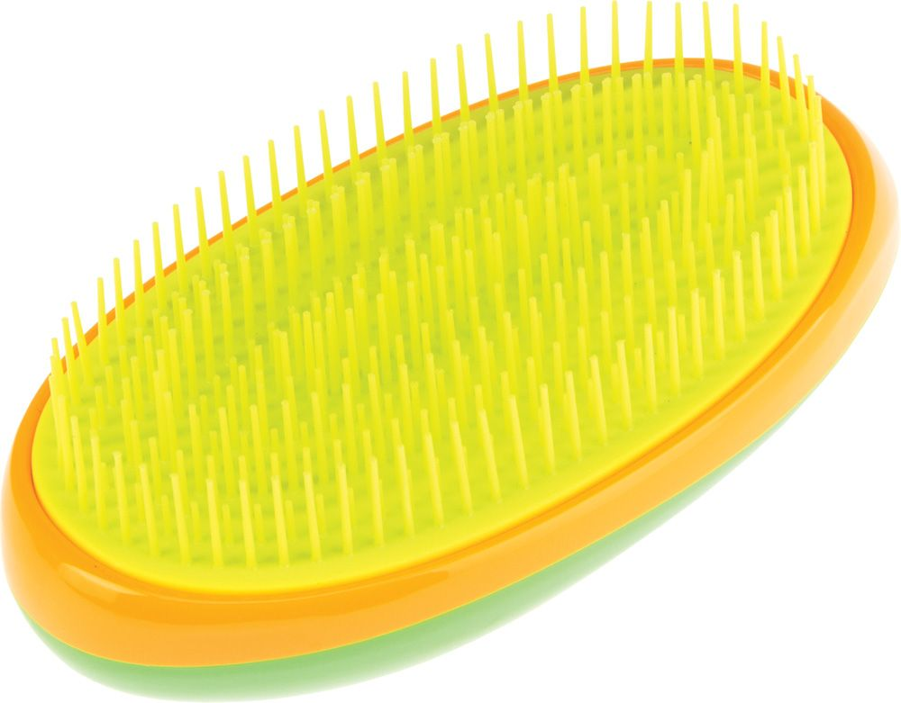 Dewal Beauty Щетка массажная, для легкого расчесывания волос, овальная, цвет: зеленый, оранжевый, желтый щетки косметические dewal beauty щетка массажная для легкого расчесывания волос большая