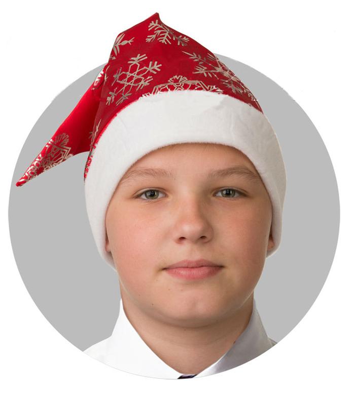 Батик Аксессуар карнавальный для мальчика Колпак со снежинками цвет красный размер 52-56 колпак новогодний снежинки 719616