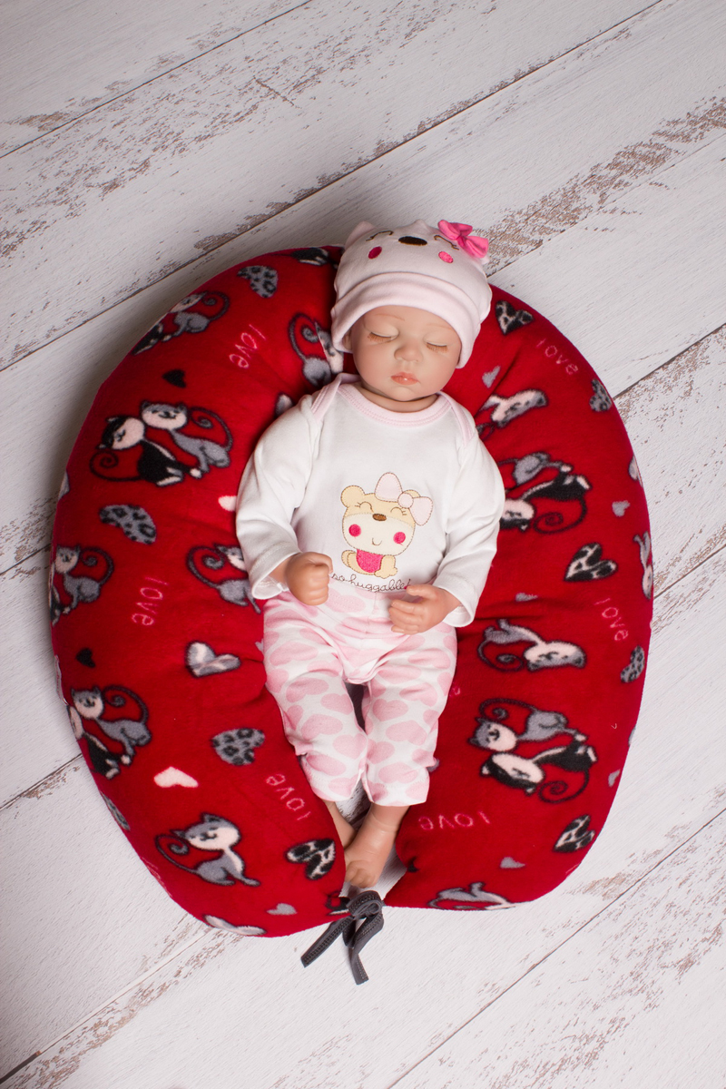 40 недель Подушка для беременных и кормления цвет бордовый серый 170 х 30 см