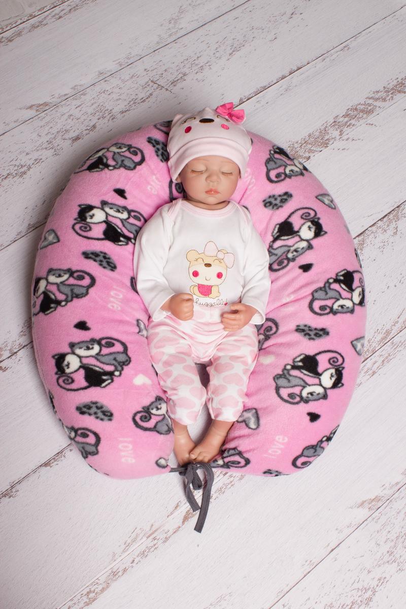 40 недель Подушка для беременных и кормления цвет розовый серый 190 х 35 см