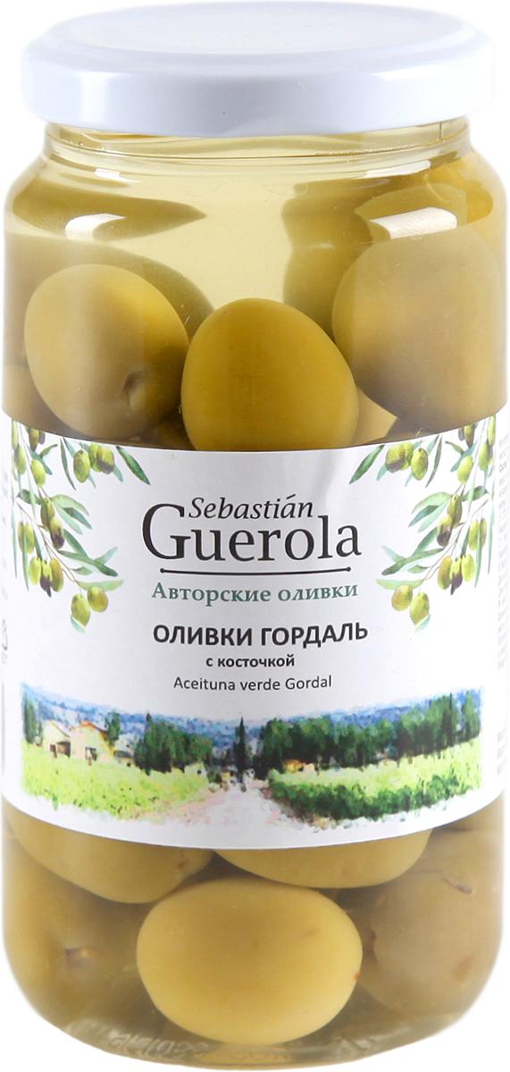 Guerola Оливки зеленые Гордаль с косточкой, 370 г guerola оливки зеленые сорта кампо реал с косточкой 2 25 кг