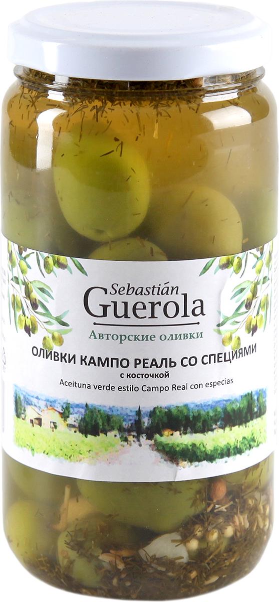 Guerola Оливки изумрудные Кампо Реаль со специями с косточкой, 370 г guerola оливки зеленые сорта кампо реал с косточкой 2 25 кг