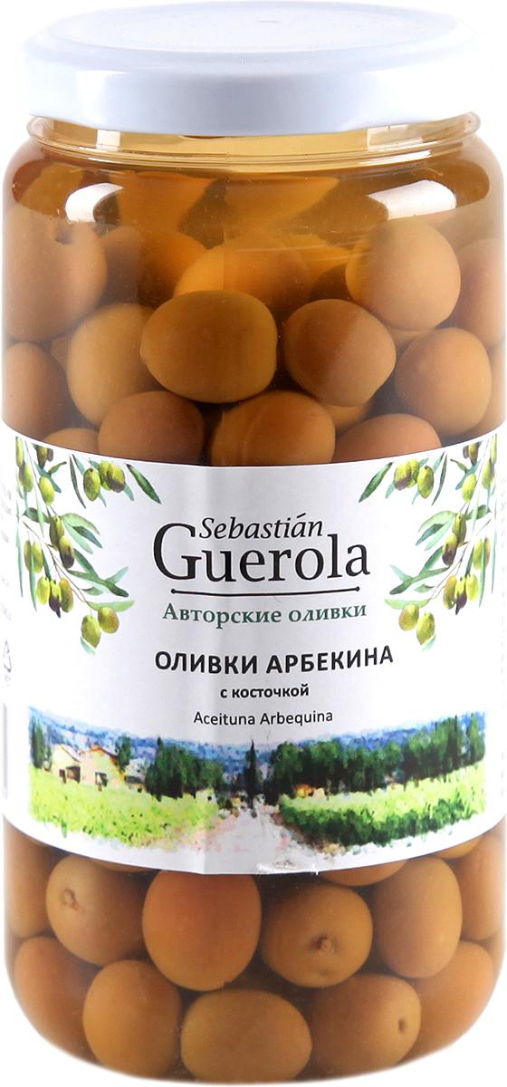 Guerola Оливки сорта Арбекина с косточкой, 370 г guerola оливки зеленые сорта кампо реал с косточкой 2 25 кг