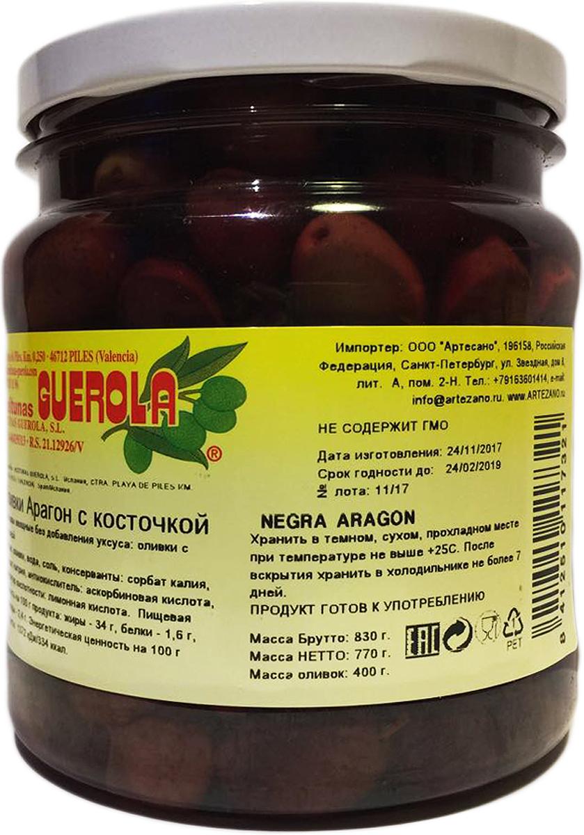 Guerola Оливки черные сорта Арагон с косточкой, 770 г guerola оливки зеленые сорта кампо реал с косточкой 2 25 кг