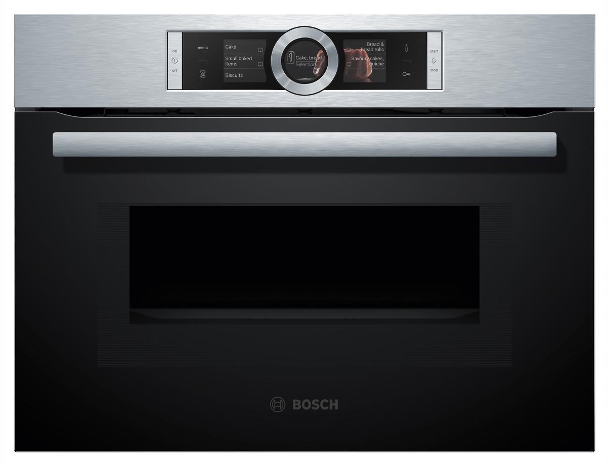 Духовой шкаф Bosch CMG636BS1, электрический, черный, серебристый150000020Встраиваемый компактный духовой шкаф CMG636 может использоваться для приготовления различных блюд благодаря наличию гриля и возможности использования комбинированных режимов работы.Камера объёмом 45 литров позволяет устройству заменять собой традиционную духовку - в нём можно приготовить целую индейку или аналогичное большое блюдо. Технология трёхмерного распределения микроволн при помощи дополнительных излучателей даёт возможность обойтись без поворотного стола. За счёт этого повышается эффективность использования внутреннего пространства и облегчается его очистка. Устройство предлагает пользователю специальную программу для размораживания продуктов. Кроме того, в нём предусмотрена функция конвекции, которая позволяет готовить выпечку или мясо с хрустящей корочкой. Сенсорная панель управления облегчает настройку духового шкафа по сравнению с кнопками или поворотными регуляторами. Крупногабаритный товар.