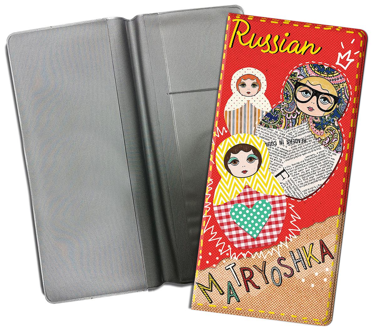 Конверт путешественника Magic Home Матрешки на красном, для документов. 77117 сувенир конверт путешественника авто винтаж для документов из пвх 20 5 22см 77224