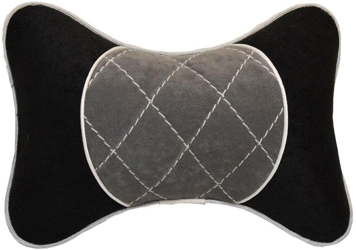 Подушка автомобильная Auto Premium, на подголовник, цвет: черный, серый. 37607 подушка на подголовник auto premium nissan цвет бежевый 37583