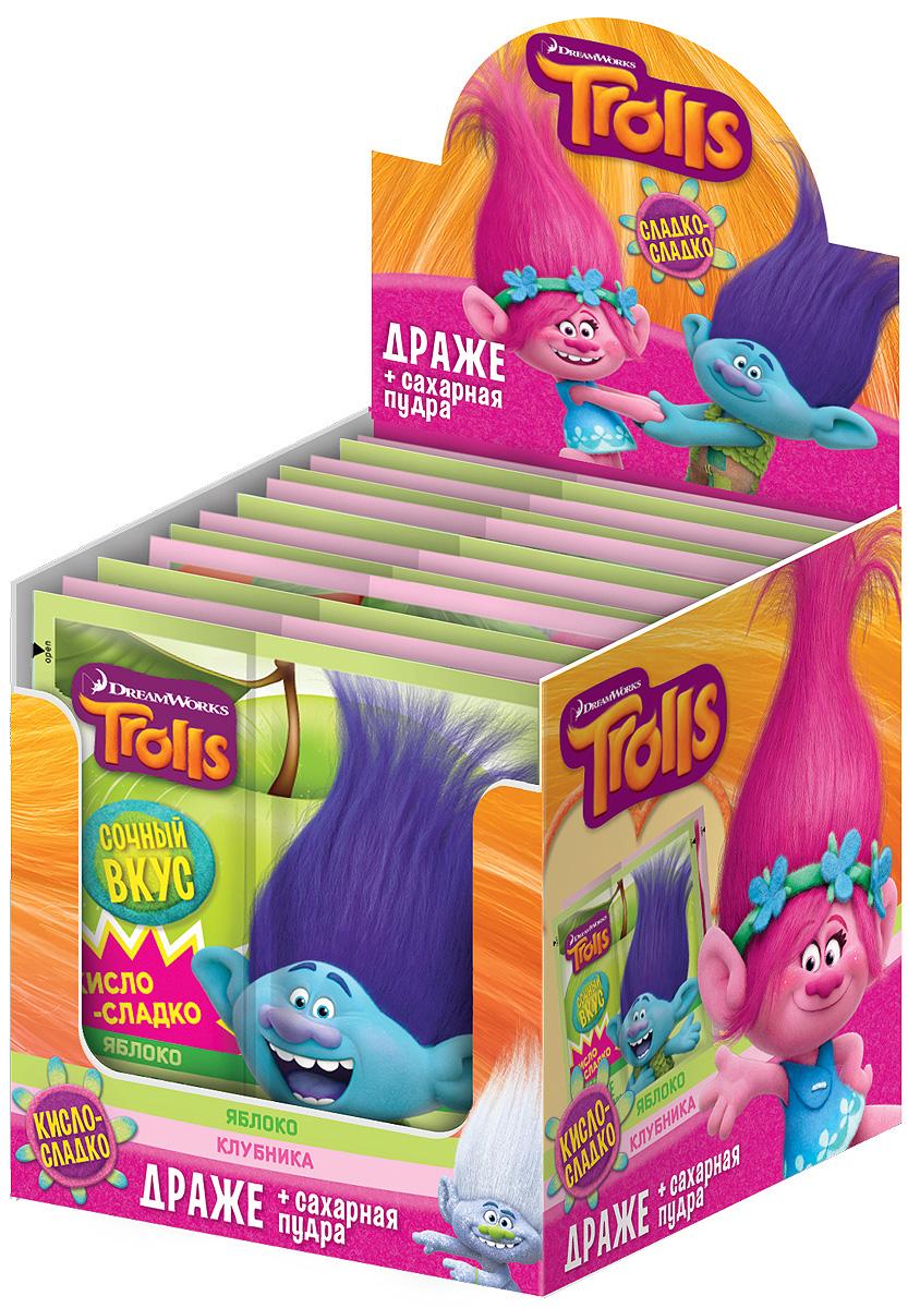 Конфитрейд Trolls драже с кисло-сладкой пудрой, 24 шт по 15 г жевательная резинка конфитрейд trolls вкусношарик с начинкой 100 шт по 4 г