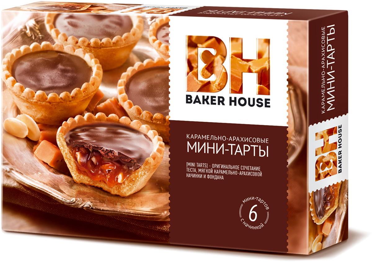 Baker House мини-тарты с карамельно-арахисовый начинкой, 240 г baker house птифур пирожные карамель с арахисом 225 г