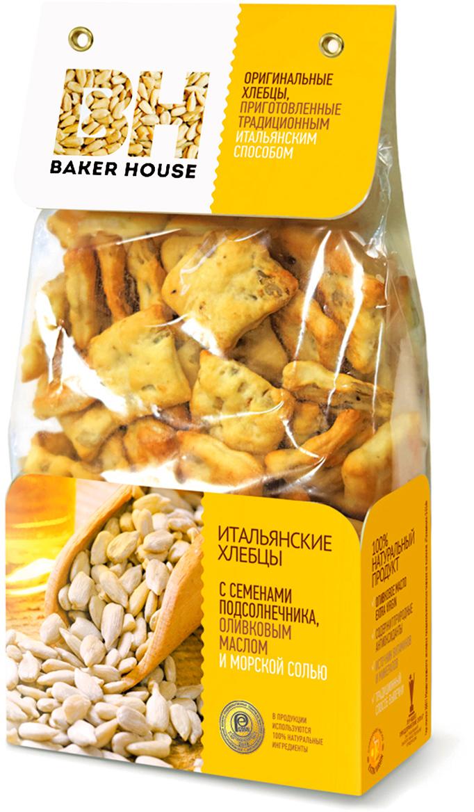 Baker House хлебцы итальянские с семенами подсолнечника, оливковым маслом и морской солью, 250 г baker house птифур пирожные карамель с арахисом 225 г
