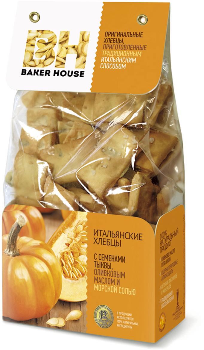 Baker House хлебцы итальянские с семенами тыквы, оливковым маслом и морской солью, 250 г baker house птифур пирожные карамель с арахисом 225 г