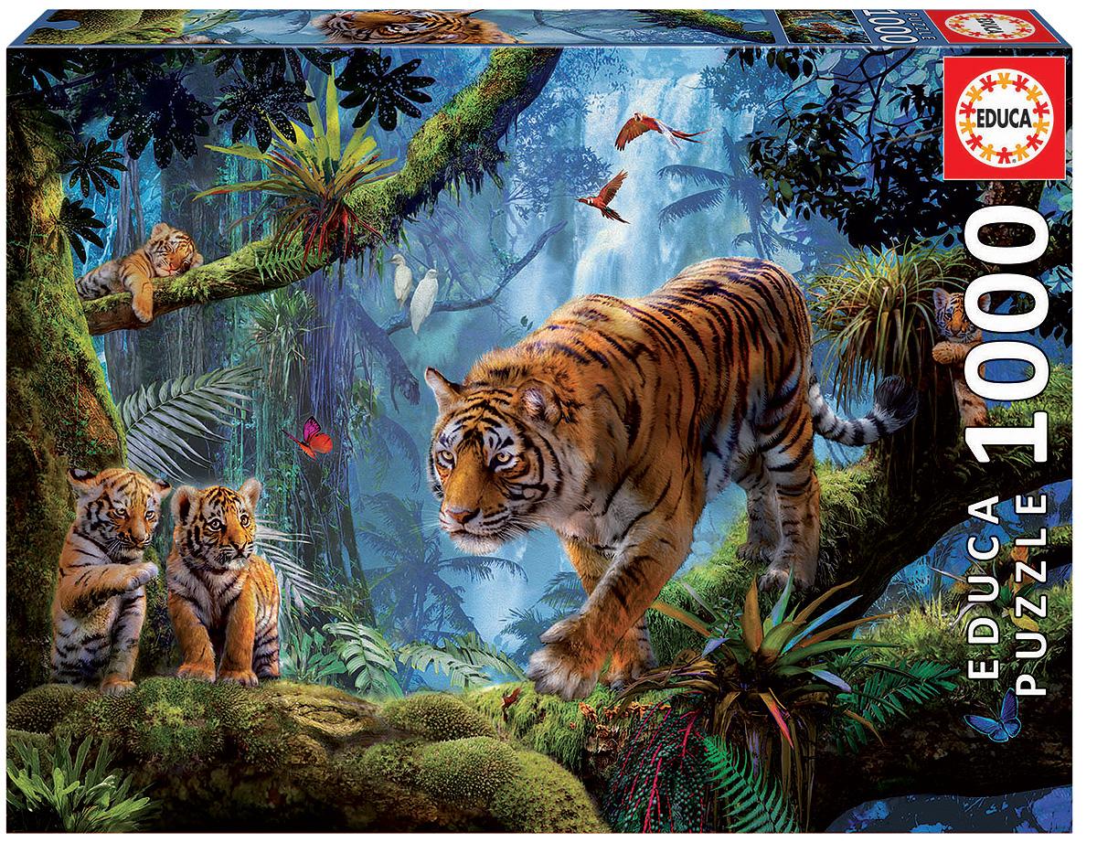 Educa Пазл Тигры на дереве17662Пазл Educa Тигры на дереве, состоящий из 1000 элементов, придется по душе всей вашей семье, ведь собрав этот пазл, вы получите великолепную картину! Пазл выполнен из высококачественных материалов, что обеспечивает идеальное прилегание элементов друг к другу. Собирание пазлов это не только интересно, но и полезно: ведь в процессе создания картинки развивается мелкая моторика, тренируются наблюдательность и логическое мышление. Испанская компания Educa Borras, SA выпускает пазлы различной сложности. В них входят репродукции известных художников: Ван Гог, Сальвадор Дали, Пабло Пикассо, Леонардо да Винчи, Виктор Швайко, фантастические пазлы от Виктории Франсэ и Луиса Роя, великолепные пейзажи и панорамы.