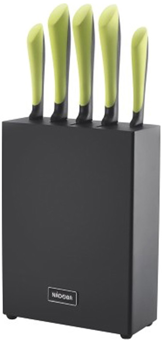 Набор ножей Jana, на подставке, цвет: стальной, черный, зеленый, 6 предметов цена