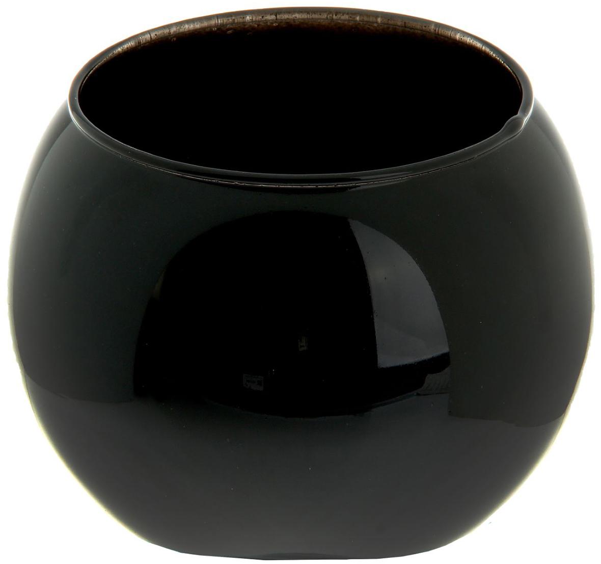 Ваза-шар Evis Пять вечеров, цвет: черный, 1 л ваза шар evis сиреневый мираж цвет сиреневый 3 л