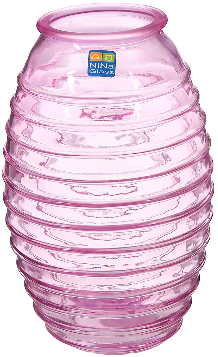Ваза NiNa Glass Лайт, цвет: сиреневый, 19,5 см ваза nina glass грейси цвет оранжевый высота 19 см