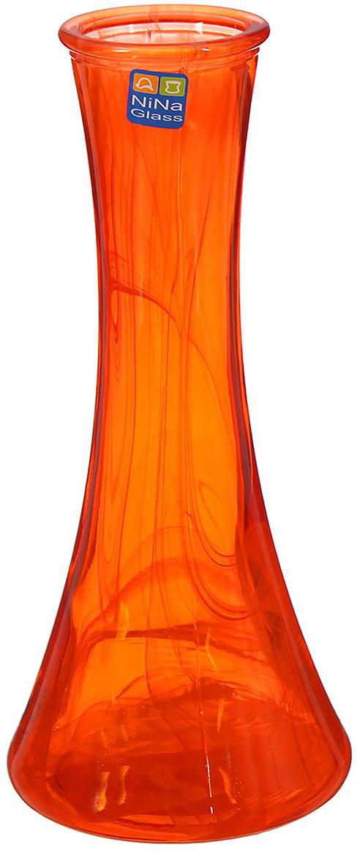 Ваза NiNa Glass Экстра, цвет: оранжевый, 21 см ваза nina glass грейси цвет оранжевый высота 19 см