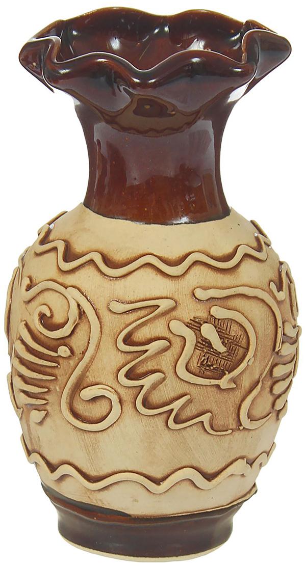 """Ваза Керамика ручной работы """"Барселона"""", цвет: коричневый, малая"""