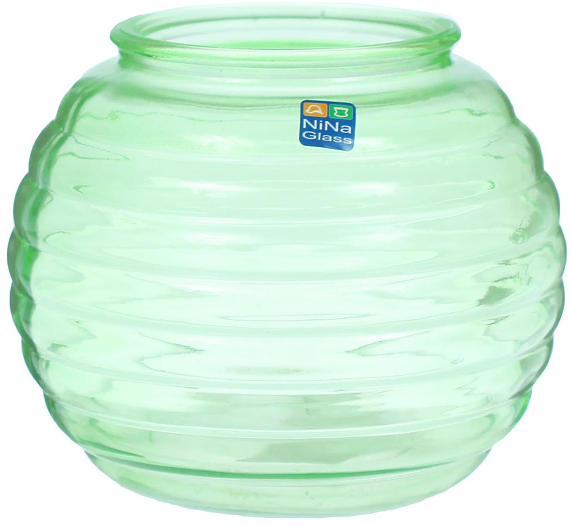 Ваза NiNa Glass Зара, цвет: зеленый, 1,8 л ваза nina glass грейси цвет оранжевый высота 19 см