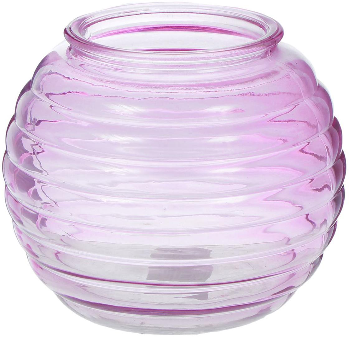 Ваза NiNa Glass Зара, цвет: сиреневый, 1,8 л ваза nina glass грейси цвет оранжевый высота 19 см