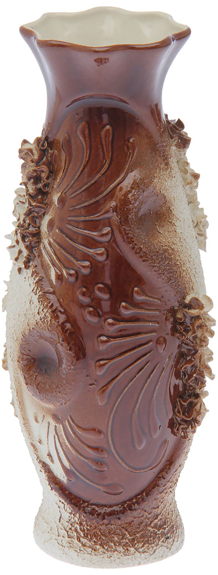 """Ваза Керамика ручной работы """"Рага"""", цвет: коричневый, малая"""