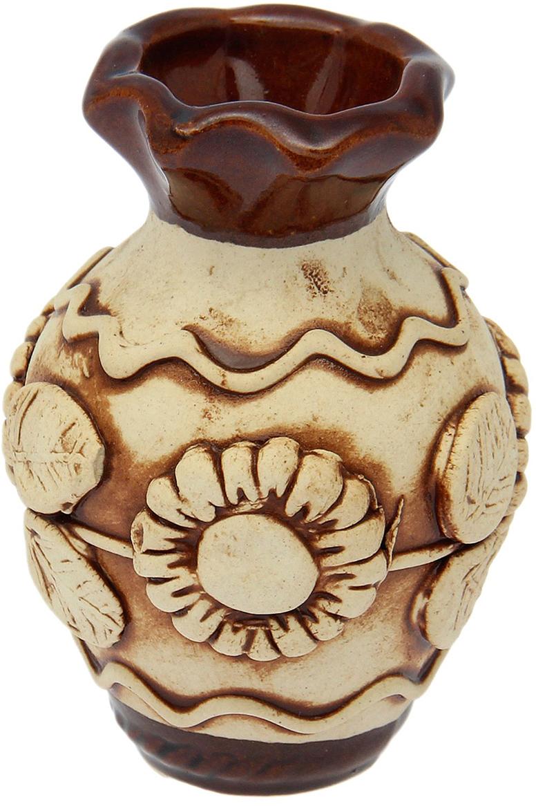 """Ваза Керамика ручной работы """"Полянка"""", цвет: коричневый, малая"""