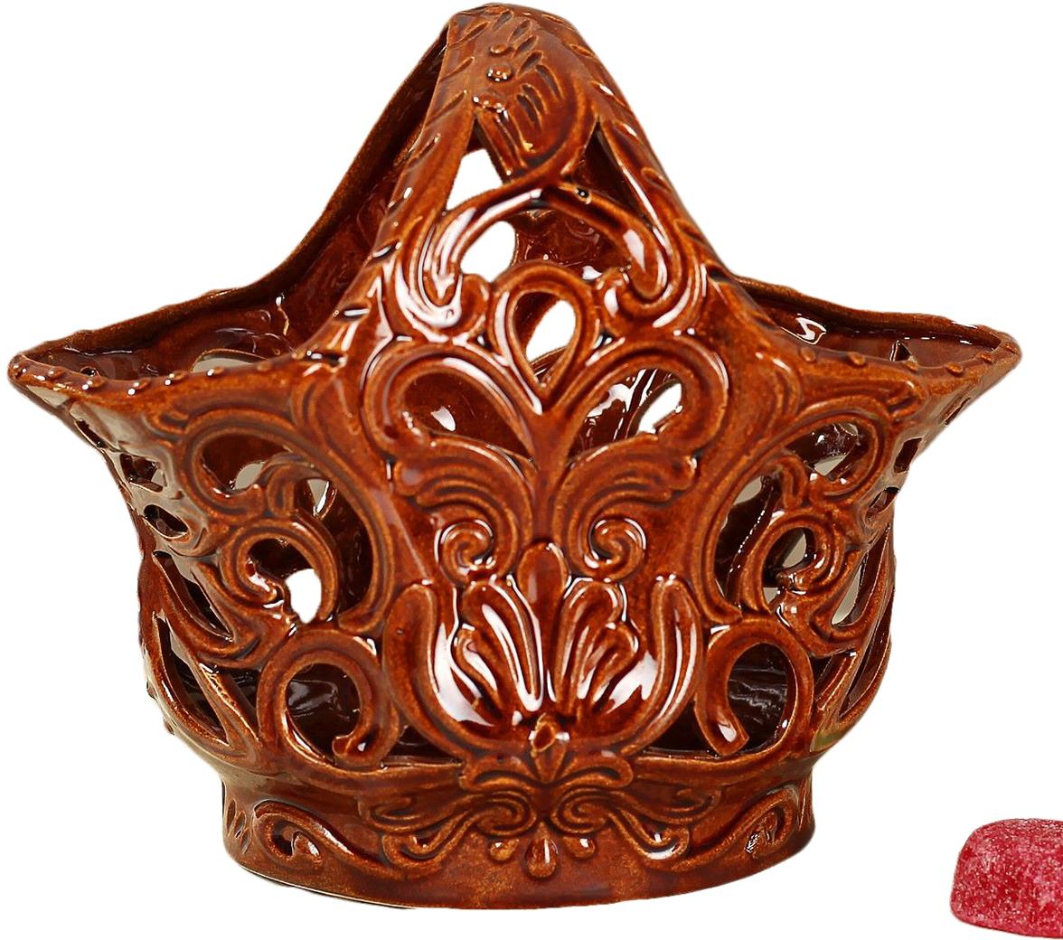 Конфетница Керамика ручной работы Тюльпан, цвет: коричневый ваза керамика ручной работы лиана цвет светло коричневый средняя 1130557