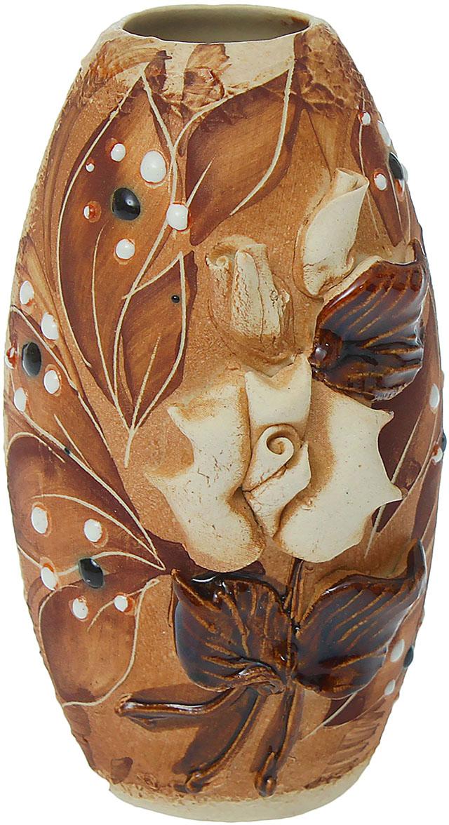 """Ваза Керамика ручной работы """"Евро"""", цвет: коричневый, малая. 830398"""