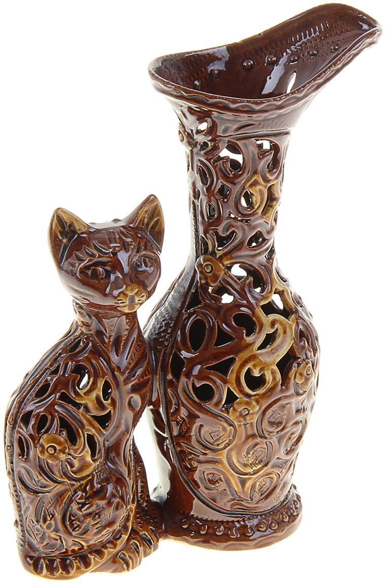 """Ваза Керамика ручной работы """"Кот"""", цвет: коричневый, 20 см"""