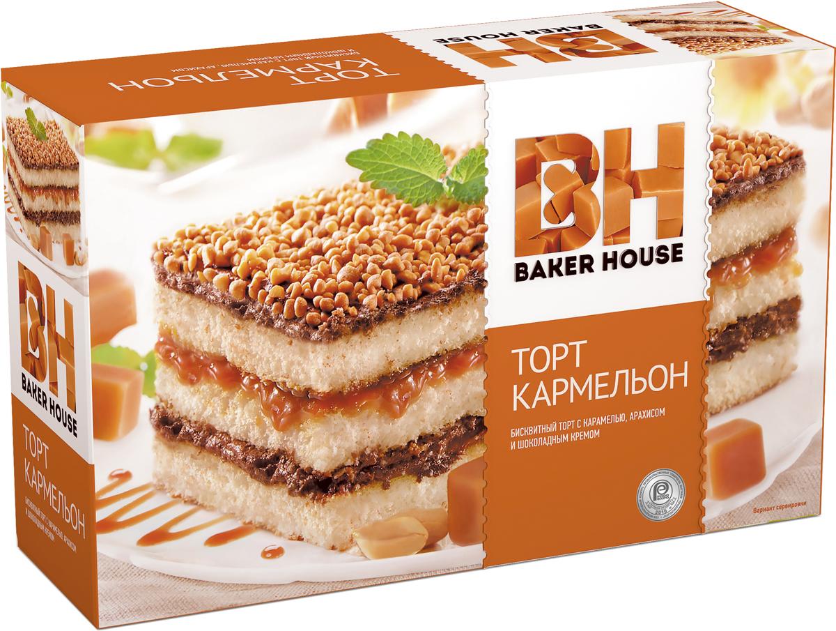 Baker House Кармельон торт бисквитный, 350 г пудовъ торт брауни 350 г