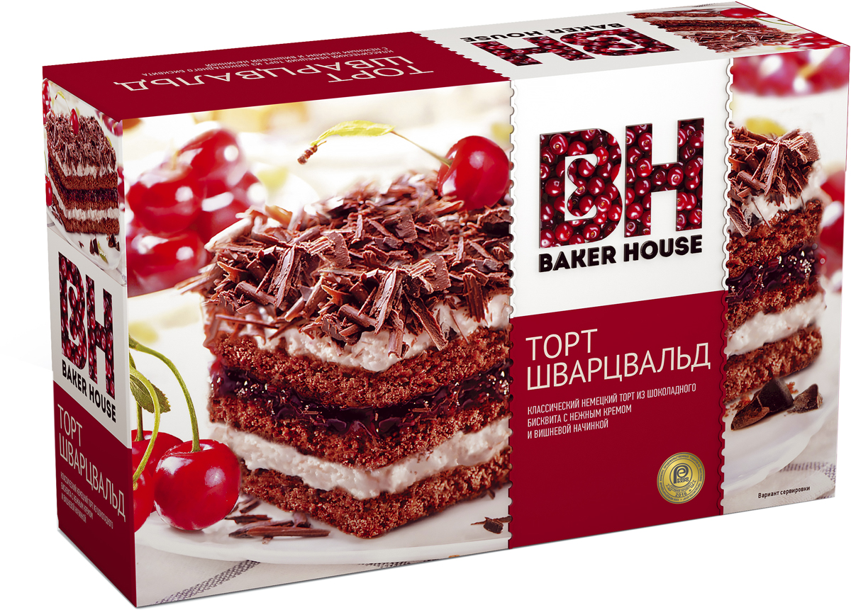 Baker House Шварцвальд торт бисквитный, 350 г пудовъ торт брауни 350 г