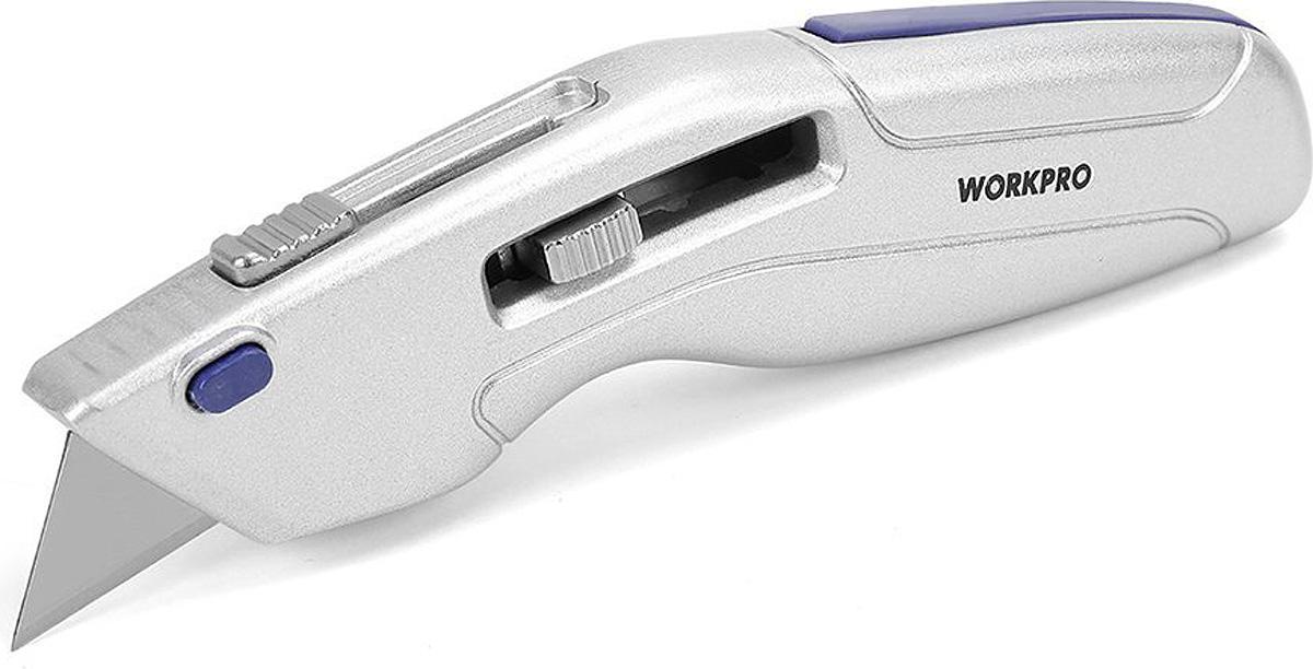 Нож строительный Workpro, выдвижной, 3 сменных лезвия нож строительный mos лезвие 100 мм 10609м