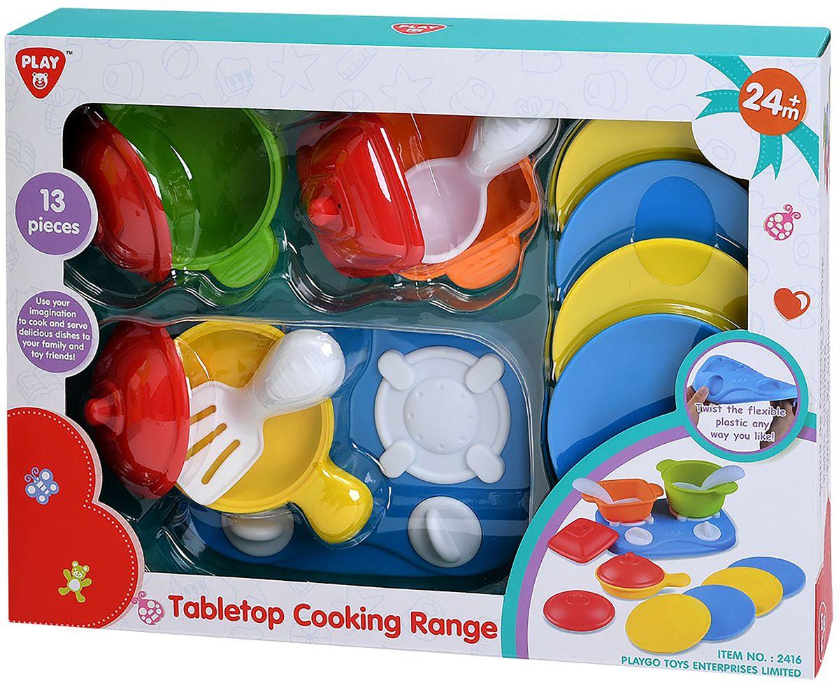Playgo Игровой набор Плита с посудой 13 предметов playgo набор с пластилином и аксессуарами в корзине 8750