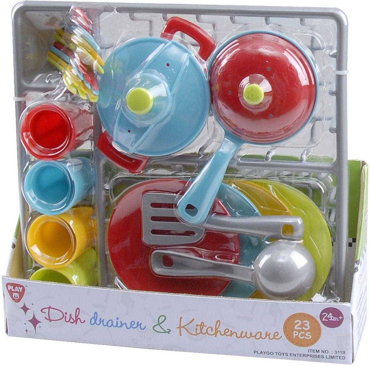 Playgo Игровой набор Сушилка с посудой 23 предмета playgo набор с пластилином и аксессуарами в корзине 8750