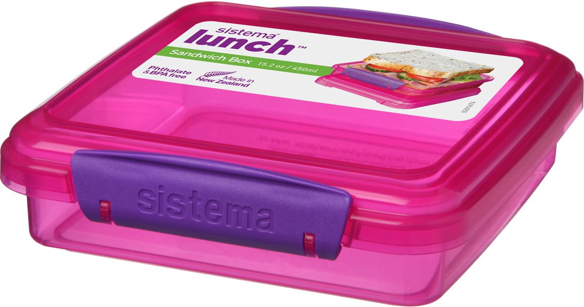 Контейнер для сэндвичей Sistema, цвет: малиновый, 450 мл контейнер для сэндвичей sistema цвет прозрачный фиолетовый розовый 450 мл
