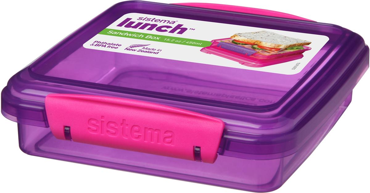 Контейнер для сэндвичей Sistema, цвет: прозрачный фиолетовый, розовый, 450 мл мир детства контейнер для прикорма цвет розовый фиолетовый