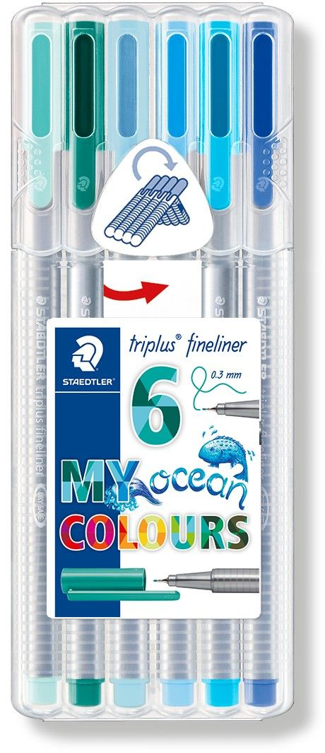 Staedtler Набор капиллярных ручек Triplus Liner Цвета океана 6 цветов