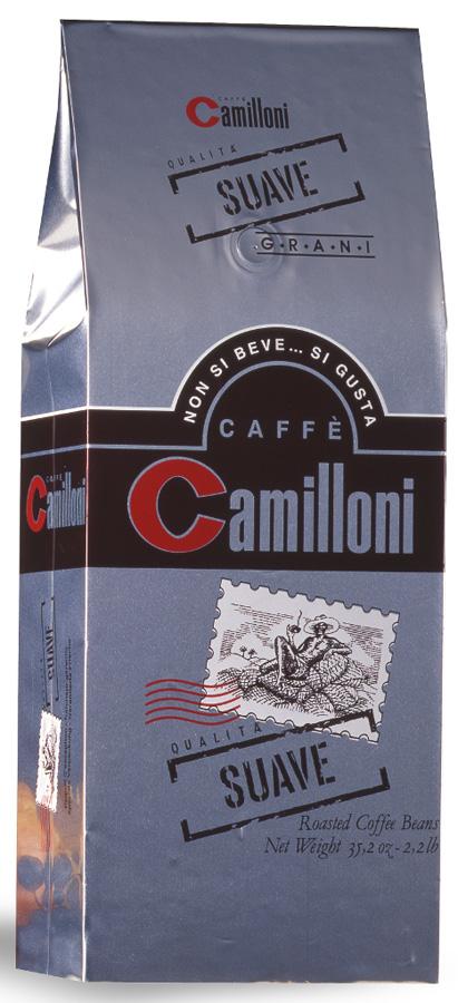 Кофе в зернахCamilloni Suave 1 кг8009785101706Натуральный кофе Camilloni Suave, классической итальянской обжарки, славится своим богатым, изысканным вкусом и насыщенным ароматом. Состав: арабика (85%), робуста (15%)
