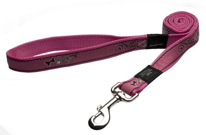 """Поводок для собак Rogz """"Fancy Dress"""", удлиненный, цвет: розовый, ширина 2,5 см. Размер XL"""