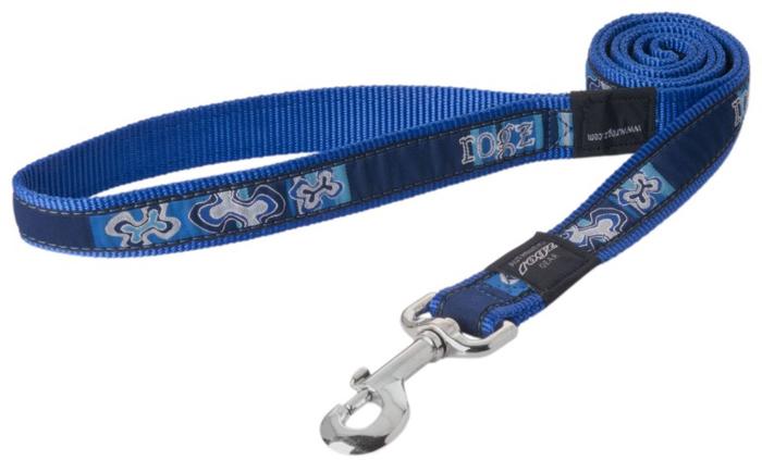"""Поводок для собак Rogz """"Fancy Dress"""", удлиненный, цвет: синий, ширина 2,5 см. Размер XL. HLL02BP"""