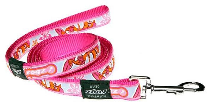 """Поводок для собак Rogz """"Fancy Dress"""", удлиненный, цвет: розовый, ширина 2 см. Размер L. HLL03K"""