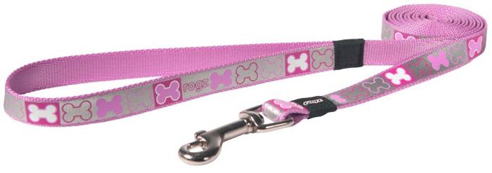 """Поводок для собак Rogz """"Reflecto"""", цвет: розовый, ширина 1,6 см. Размер M"""