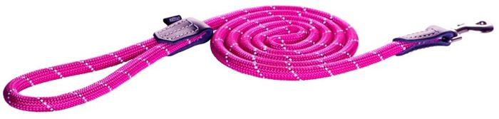 """Поводок для собак Rogz """"Rope """", удлиненный, цвет: розовый, ширина 1,2 см. Размер L"""