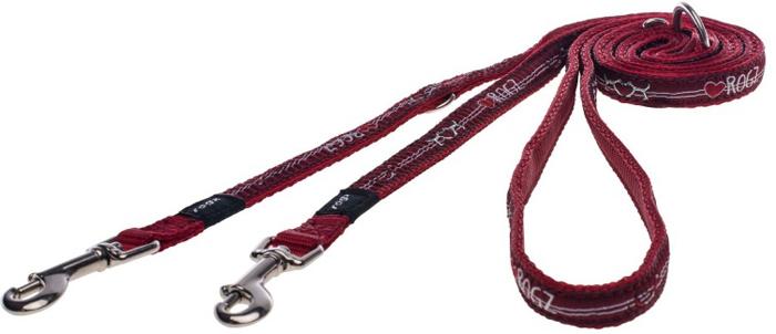 Поводок-перестежка для собак Rogz Fancy Dress, цвет: красный, ширина 1,1 см. Размер S поводок для собак rogz fancy dress удлиненный цвет черный ширина 2 5 см размер xl