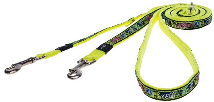 Поводок-перестежка для собак Rogz Fancy Dress, цвет: черный, желтый, ширина 1,1 см. Размер S поводок для собак rogz fancy dress удлиненный цвет черный ширина 2 5 см размер xl