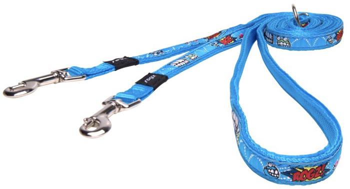 Поводок-перестежка для собак Rogz Fancy Dress, цвет: голубой, ширина 1,1 см. Размер S поводок для собак rogz fancy dress удлиненный цвет черный ширина 2 5 см размер xl