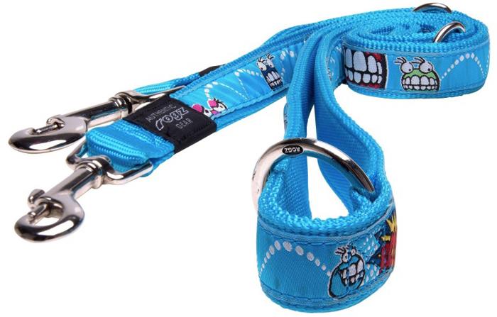 Поводок-перестежка для собак Rogz Fancy Dress, цвет: голубой, ширина 2,5 см. Размер XL поводок для собак rogz fancy dress удлиненный цвет черный ширина 2 5 см размер xl