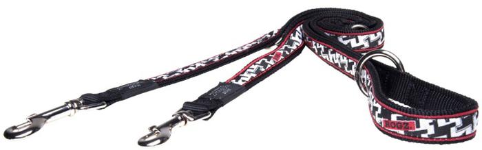 Поводок-перестежка для собак Rogz Fancy Dress, цвет: черный, белый, ширина 2 см. Размер L поводок для собак rogz fancy dress удлиненный цвет черный ширина 2 5 см размер xl
