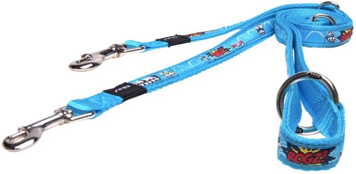 Поводок-перестежка для собак Rogz Fancy Dress, цвет: голубой, ширина 1,6 см. Размер M rogz поводок перестежка для собак rogz fancy dress xl 25мм 1 8 м мультиколор