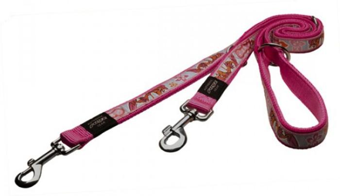 Поводок-перестежка для собак Rogz Fancy Dress, цвет: розовый, ширина 1,6 см. Размер M поводок для собак rogz fancy dress удлиненный цвет черный ширина 2 5 см размер xl