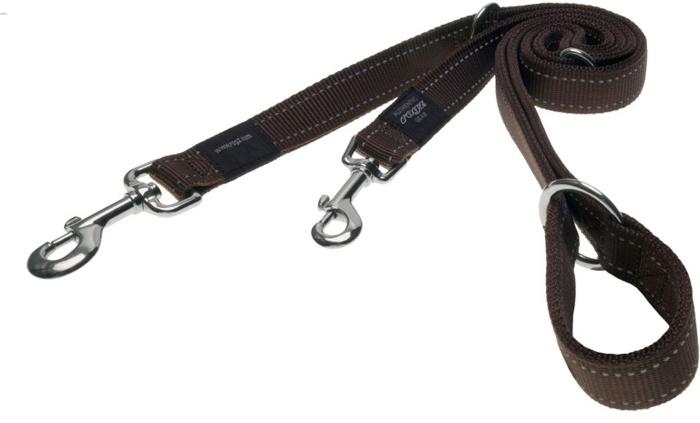 Поводок-перестежка для собак Rogz Utility, цвет: коричневый, ширина 1,1 см. Размер S поводок для собак happy house luxury цвет темно коричневый длина 125 см